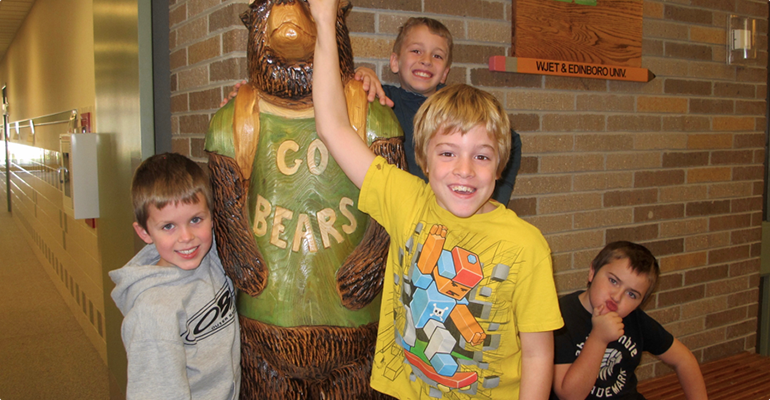 Students with Bear