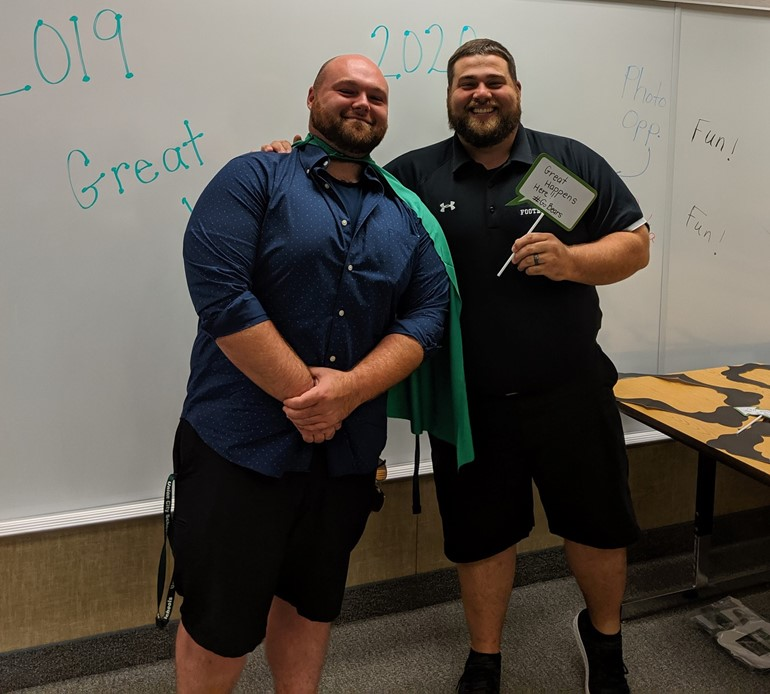 Mr. Wydro and Mr. Blood at New Teacher Induction: Go Bears!