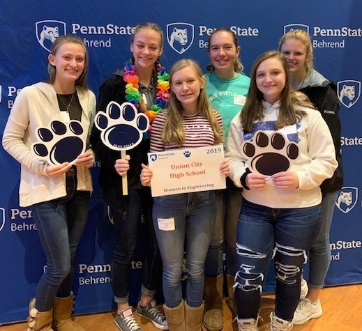 Union City Girls at Penn State Behrend's Women in Engineering Day.