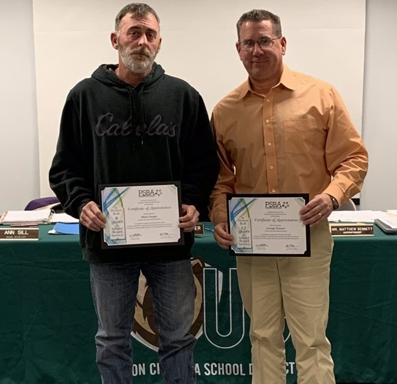 Union City Area School District would like to congratulate School Board members for their service.  Brian Gregor 8 years of service and George Trauner (President) 12 years of service. Blain Blakeslee was also recognized for 20 years of service.