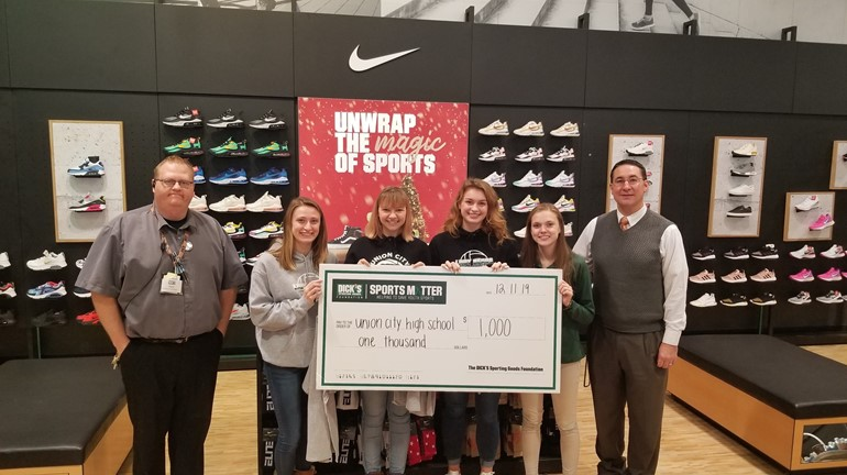 "Dick's Sporting Goods owner created a program called ""Sports Matter"", Union City Volleyball team was a awarded this grant to put toward new equipment."