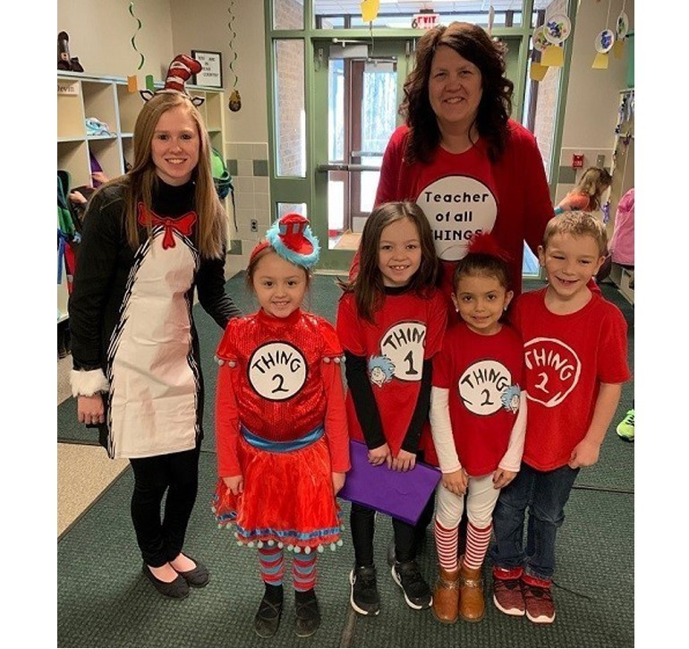 Union City Elementary 1st graders celebrating Dr. Suess' Birthday with their teachers Miss Stebick and Mrs. Smith.