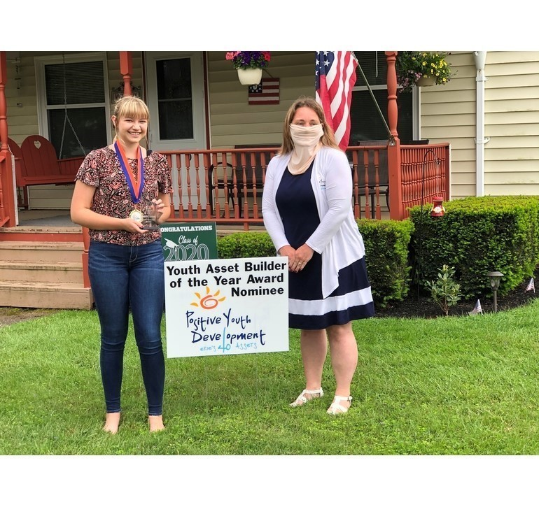 Youth Asset Builder of the Year Winner Tara Jackson with Mrs. Biebel, Positive Youth Coordinator