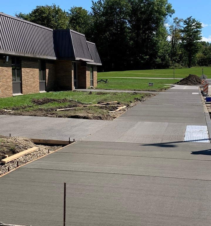 Newly poured concrete for our front entrance.
